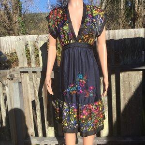 Anthropologie Fei Efflorescent Silk Floral Dress